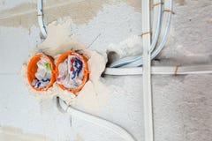 Nueva instalación eléctrica imagen de archivo