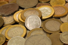 Nueva moneda de la rublo Imagen de archivo libre de regalías
