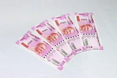 Nueva moneda india de 2000 notas de la rupia Imagen de archivo