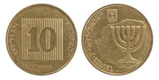 Nueva moneda israelí diez Fotografía de archivo libre de regalías