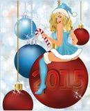 Nueva muchacha feliz de Papá Noel de 2015 años Foto de archivo libre de regalías