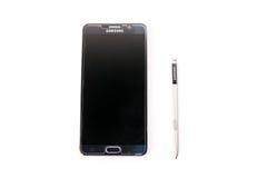 Nueva nota 5 de la galaxia de Smartphone Samsung con la pluma de S Fotos de archivo