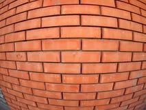 Nueva pared de ladrillo con la opinión granangular del fisheye Imagenes de archivo