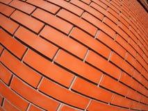 Nueva pared de ladrillo roja con la lente de la distorsión Fotografía de archivo libre de regalías