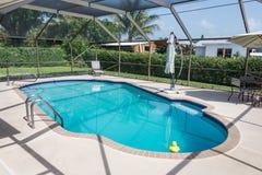 Nueva piscina llenada de agua Imágenes de archivo libres de regalías