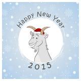 Nueva postal feliz de 2015 años con la cabra divertida Fotografía de archivo