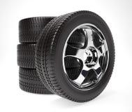 Nueva rueda de coche con el neumático del invierno apilado para arriba Imagenes de archivo