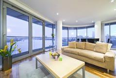 Nueva sala de estar con el sofá del diseñador foto de archivo libre de regalías