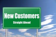 Nueva señal de tráfico de los clientes ilustración del vector