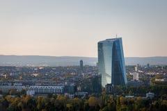 Nueva sede para el Banco Central Europeo en la tubería de Francfort, Foto de archivo libre de regalías