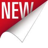 Nueva tabulación o bandera de la esquina para las escrituras de la etiqueta del producto Fotografía de archivo