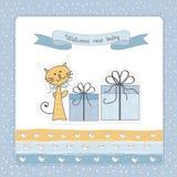 Nueva tarjeta del aviso del bebé Imagen de archivo libre de regalías