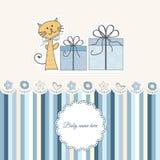 Nueva tarjeta del aviso del bebé Fotos de archivo libres de regalías