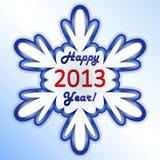 Nueva tarjeta del copo de nieve de 2013 años. Foto de archivo libre de regalías