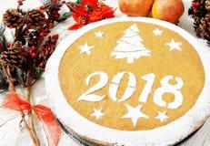 Nueva torta griega de los year's, vasilopita Fotografía de archivo