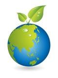 Nueva vida, hoja con el globo de la correspondencia de mundo