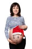 Nueva vida y Años Nuevos de concepto Mujer embarazada Imágenes de archivo libres de regalías