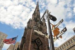 Nueva York Broadway, Wall Street Foto de archivo libre de regalías