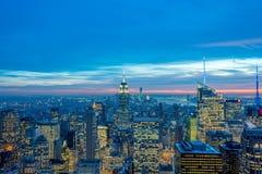 Nueva York - 20 de diciembre de 2013: Vista del Lower Manhattan en Decembe Fotografía de archivo
