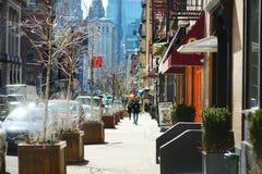 NUEVA YORK - 21 DE MARZO DE 2015: Opinión la comunidad italiana nombrada Little Italia en Manhattan céntrica, New York City fotos de archivo libres de regalías