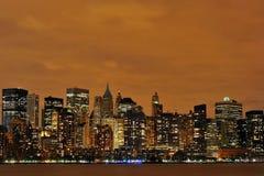 Nueva York en la noche Foto de archivo libre de regalías