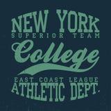 Nueva York, gráficos de la camiseta de la universidad Tipografía del dril de algodón del vintage con grunge stock de ilustración