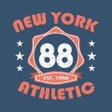 Nueva York Impresión de la tipografía de la ropa de deportes, gráficos del sello de la camiseta, diseño atlético de la ropa Vecto libre illustration