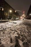 Nieve en la avenida Nueva York de Manhattan Fotografía de archivo libre de regalías