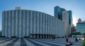 NUEVA YORK, los E.E.U.U. - 25 de mayo de 2018 Naciones Unidas que construyen en la puesta del sol Imagenes de archivo