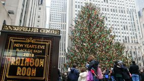 NUEVA YORK, LOS E.E.U.U. - DICIEMBRE DE 2017: gente al lado del árbol de navidad en el centro de Rockefeller almacen de metraje de vídeo