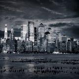 Nueva York Manhattan en la puesta del sol Imagenes de archivo