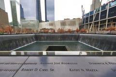 Nueva York 9/11 monumento en el punto cero del World Trade Center Fotos de archivo libres de regalías