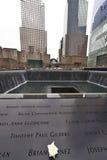 Nueva York 9/11 monumento en el punto cero del World Trade Center Fotos de archivo