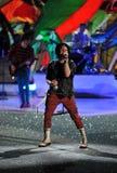 NUEVA YORK, NY - 13 DE NOVIEMBRE: El músico Patrick Stump de la banda Fall Out Boy se realiza en el desfile de moda 2013 de Victor Fotografía de archivo