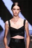 NUEVA YORK, NY - 8 DE SEPTIEMBRE: Ronja Furrer modelo camina la pista en la colección de Donna Karan Spring 2015 Fotografía de archivo libre de regalías