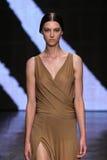 NUEVA YORK, NY - 8 DE SEPTIEMBRE: Stephanie Joy Field modelo camina la pista en la colección de la moda de Donna Karan Spring 201 Imagen de archivo