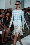NUEVA YORK, NY - 9 DE SEPTIEMBRE: Un modelo camina la pista en el desfile de moda de Oscar De La Renta Fotografía de archivo