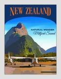 Nueva Zelanda, cartel del viaje, Fiordland, Milford Sound Imagen de archivo libre de regalías
