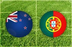 Nueva Zelanda contra partido de fútbol de Portugal Imágenes de archivo libres de regalías