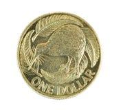 Nueva Zelandia una moneda del dólar aislada en blanco Fotografía de archivo