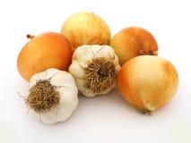 Nuevas cebollas del ajo y imágenes comunes de la patata Fotografía de archivo