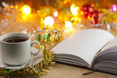 Nuevas entradas Lista de lío al Año Nuevo Lista de compras antes del Año Nuevo Fotos de archivo