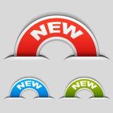 Nuevas escrituras de la etiqueta sujetadas el en semi-círculo Imágenes de archivo libres de regalías
