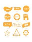 Nuevas etiquetas amarillas abstractas Imagenes de archivo