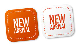 Nuevas etiquetas engomadas de la llegada Fotografía de archivo libre de regalías