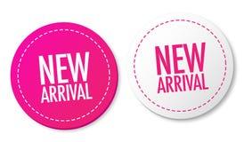 Nuevas etiquetas engomadas de la llegada Imagen de archivo libre de regalías