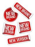 Nuevas etiquetas engomadas de la marca de fábrica. Fotos de archivo libres de regalías