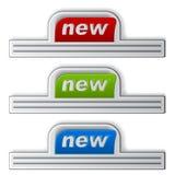 Nuevas etiquetas engomadas pegadas Fotos de archivo