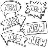 Nuevas etiquetas y escrituras de la etiqueta al por menor Fotos de archivo