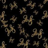 Nuevas figuras de oro del número de las letras de 2018 años aisladas en fondo inconsútil negro del modelo ilustración 3D Foto de archivo libre de regalías